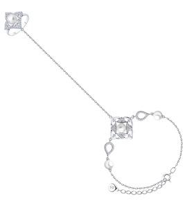 Браслет из серебра с жемчугом, жемчугом Swarovski и фианитами 94050560