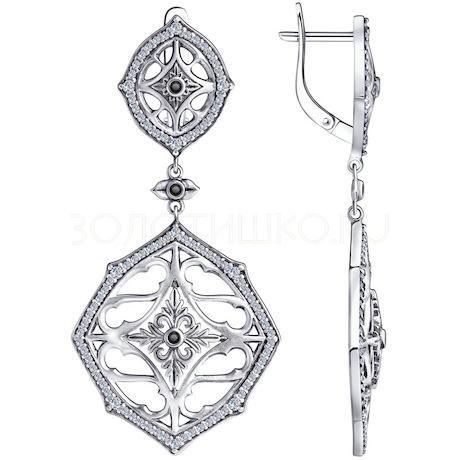 Серьги из серебра с фианитами 95020059