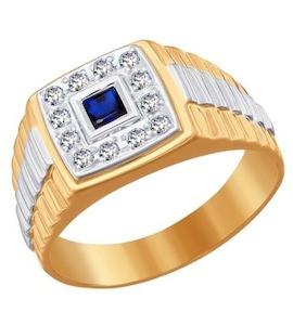 Печатка из комбинированного золота с синим фианитом 010778