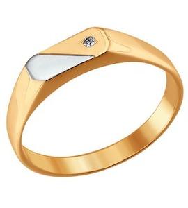 Печатка из комбинированного золота с фианитом 011017