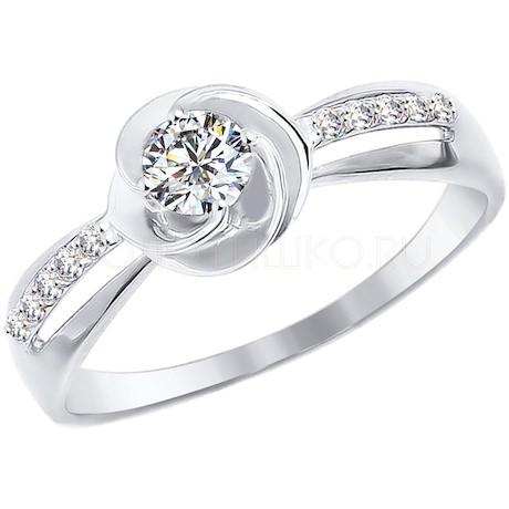 Кольцо из белого золота с фианитами 016959-3