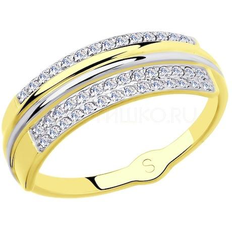 Кольцо из желтого золота с фианитами 018128-2