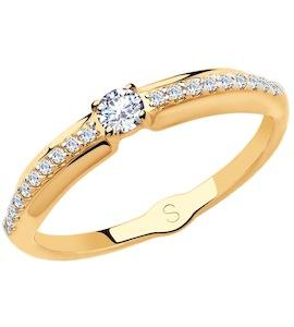 Кольцо из золота с фианитами 018153