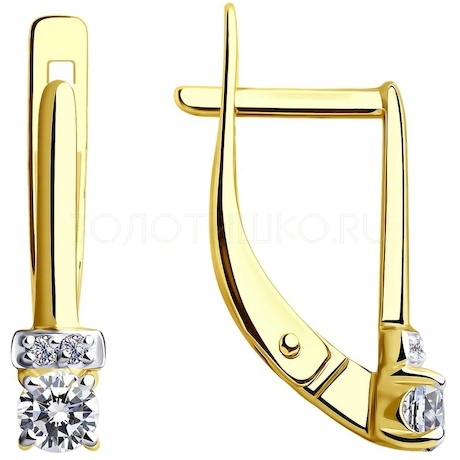 Серьги из желтого золота с фианитами 028592-2