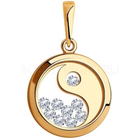 Подвеска из золота со Swarovski Zirconia и минеральным стеклом 035650