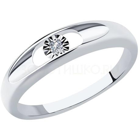 Кольцо из белого золота с бриллиантом 1011974