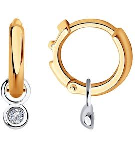 Серьги из комбинированного золота с бриллиантами 1021542