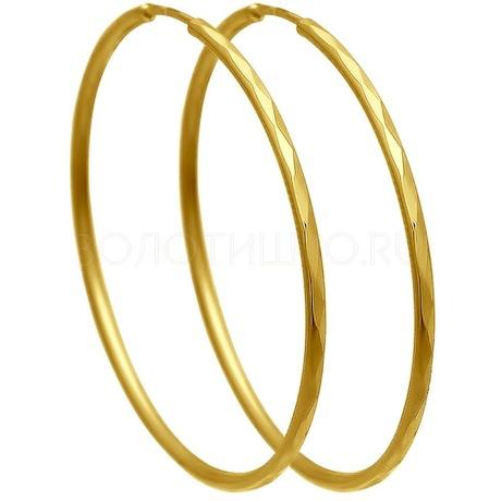 Серьги из желтого золота с алмазной гранью 140006-2
