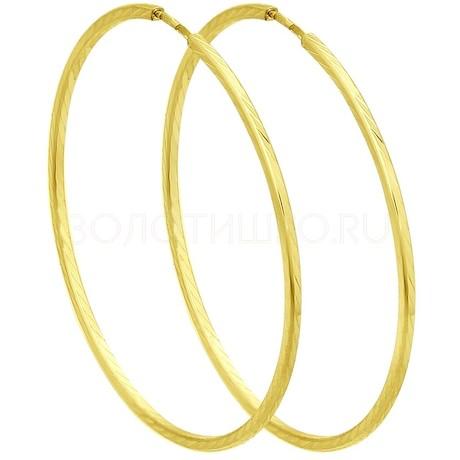 Серьги из желтого золота с алмазной гранью 140067-2