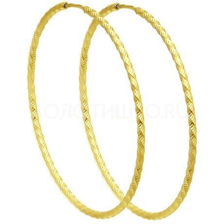 Серьги из желтого золота с алмазной гранью 140153-2