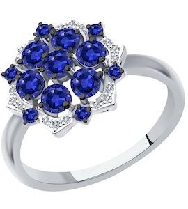 Кольцо из белого золота с бриллиантами и сапфирами 2011137