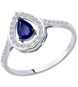 Кольцо из белого золота с бриллиантами и сапфиром 2011140