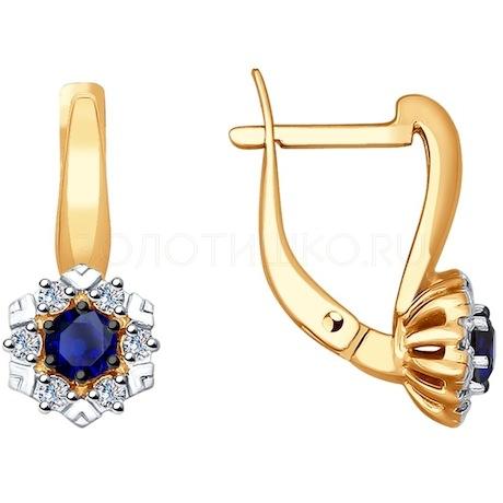 Серьги из золота с бриллиантами и сапфирами 2020957