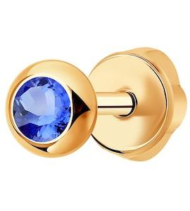 Серьга-пусета из золота с голубым сапфиром 2170003