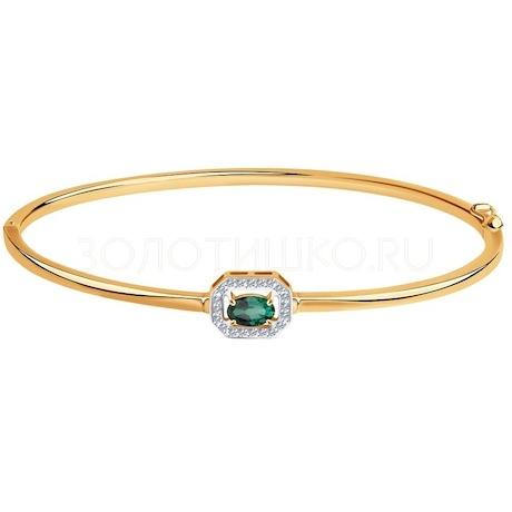 Браслет из золота с бриллиантами и изумрудом 3050020