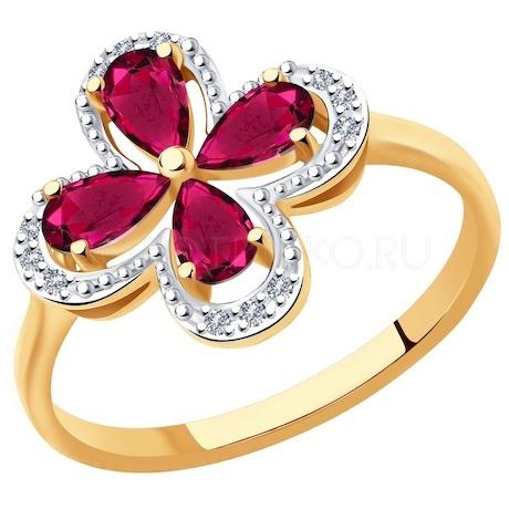 Кольцо из золота с бриллиантами и рубинами 4010640