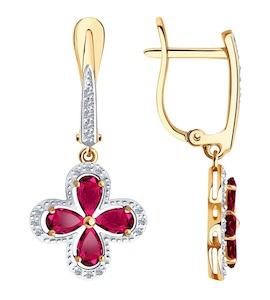 Серьги из золота с бриллиантами и рубинами 4020418