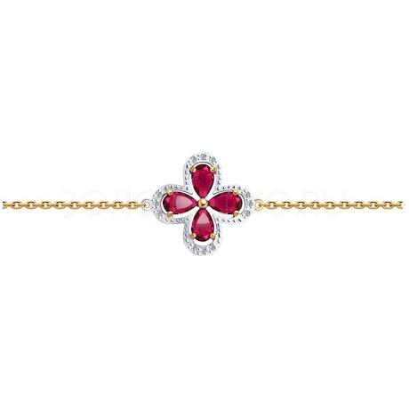 Браслет из золота с бриллиантами и рубинами 4050018