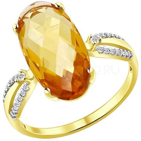 Кольцо из желтого золота с цитрином и фианитами 51714040
