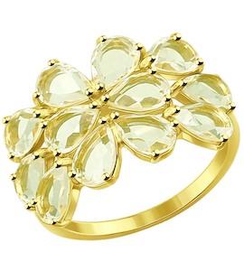 Кольцо из желтого золота с жёлтыми кварцем 51714301