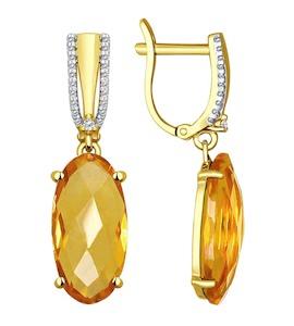Серьги из желтого золота с цитринами и фианитами 51724101