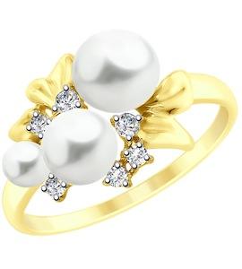 Кольцо из желтого золота с жемчугом и фианитами 51791080