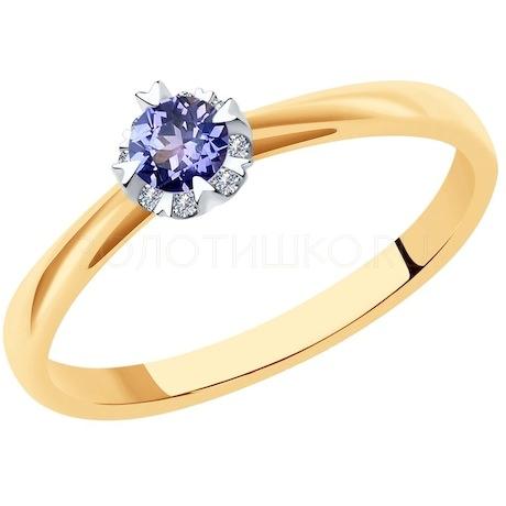 Кольцо из золота с бриллиантами и танзанитом 6014077