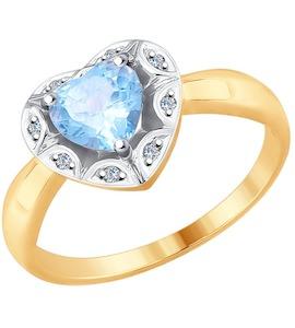 Кольцо из золота с бриллиантами и топазом 6014095