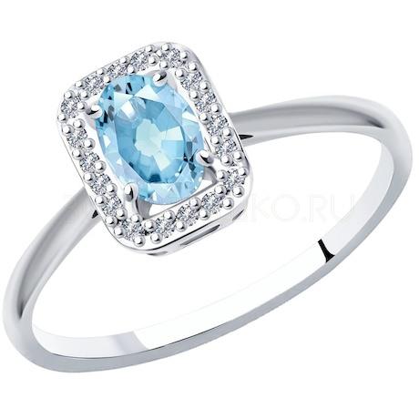 Кольцо из белого золота с бриллиантами и аквамарином 6014135