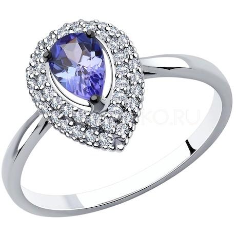 Кольцо из белого золота с бриллиантами и танзанитом 6014139