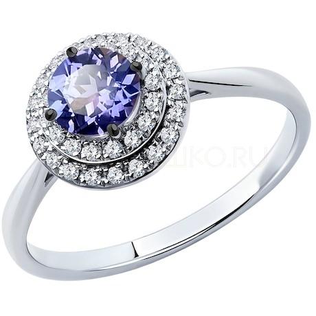 Кольцо из белого золота с бриллиантами и танзанитом 6014142