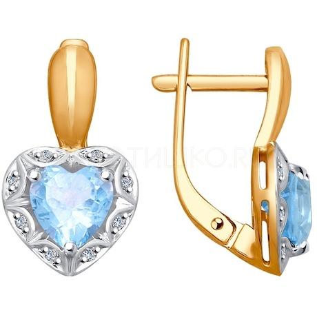 Серьги из золота с бриллиантами и топазами 6024100