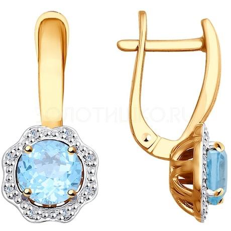 Серьги из золота с бриллиантами и топазами 6024101