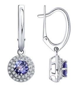 Серьги из белого золота с бриллиантами и танзанитами 6024150