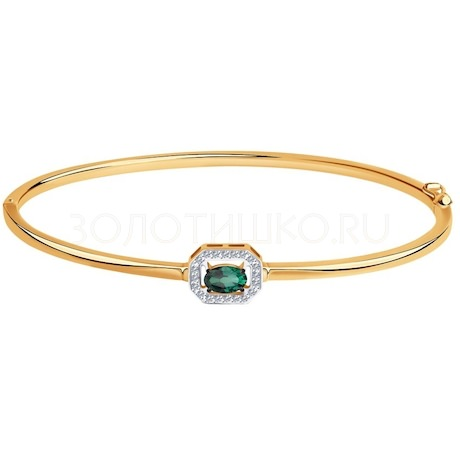 Браслет из золота с бриллиантами и изумрудом гидротермальным 6057002