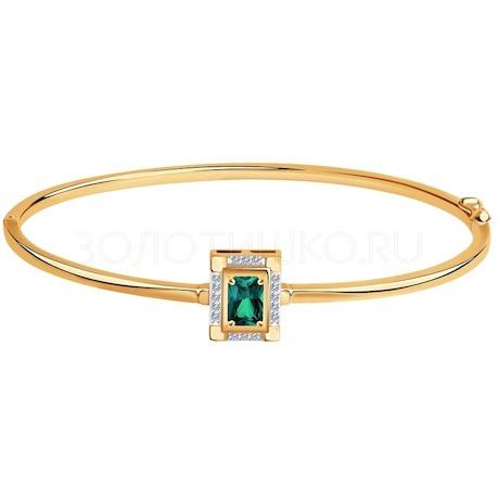 Браслет из золота с бриллиантами и изумрудом гидротермальным 6057003