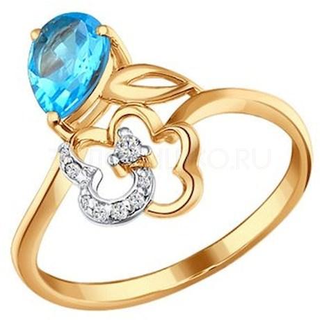 Кольцо из золота с топазом и фианитами 712014
