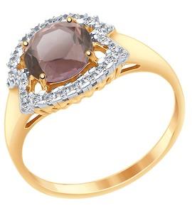 Кольцо из золота с ситаллом султанит и фианитами 715454