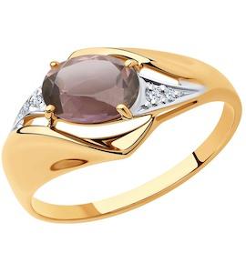 Кольцо из золота с ситаллом султанит и фианитами 715458
