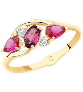 Кольцо из золота с миксом камней 715628
