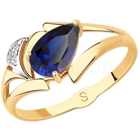 Кольцо из золота с синим корунд (синт.) и фианитами 715702