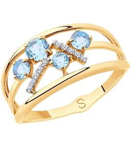 Кольцо из золота с топазами и фианитами 715713
