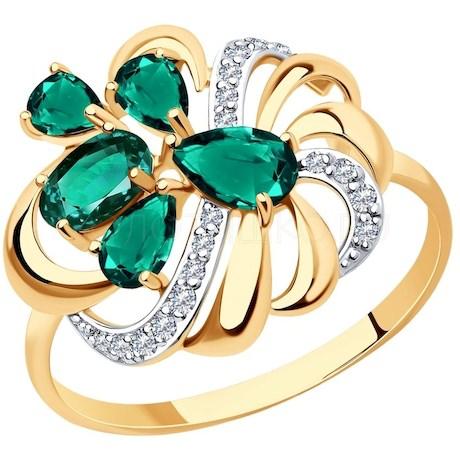Кольцо из золота с изумрудом гидротермальным и фианитами 715839