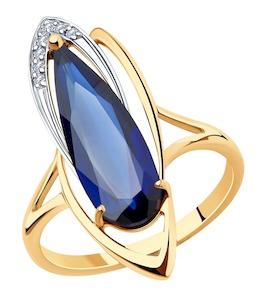 Кольцо из золота с корундом и фианитами 715966