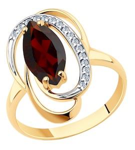 Кольцо из золота с гранатом и фианитами 715974