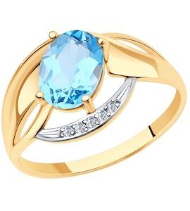 Кольцо из золота с топазом и фианитами 716003