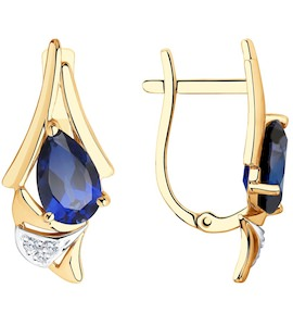 Серьги из золота с синими корунд (синт.) и фианитами 726185