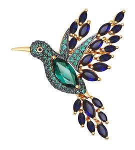 Золотая брошь в виде птички с миксом камней 740242