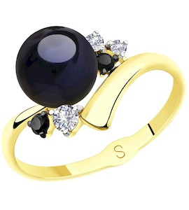 Кольцо из желтого золота с жемчугом и фианитами 791139-2