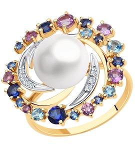 Кольцо из золота с миксом камней 791166
